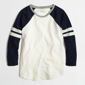 ⚾️J Crew Slim Fit Baseball Long Sleeve Stripe Tee
